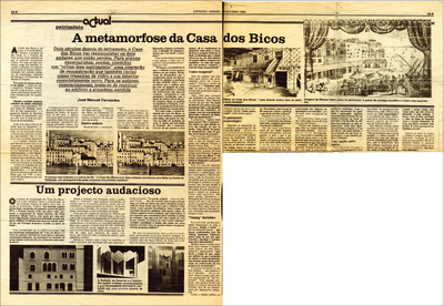 16 – Newspaper clipping with news about the rehabilitation project of Casa dos Bicos and respective archaeological intervention